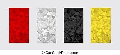 textures., bas, poly, formes, triangle, ensemble, coloré, géométrique, numérique, modèle