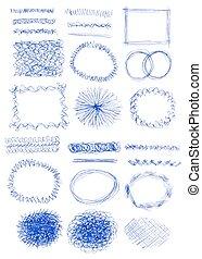 textures, brushes., ensemble, grunge, coups, résumé, main, vecteur, encre, dessiné, bannières, ton, design.