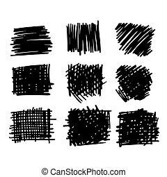 textures, dessiné, brosses, main