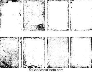 textures, ensemble, grunge, isolé, arrière-plan., vecteur, blanc
