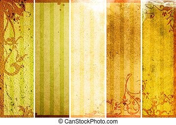 textures, floral, style, arrière-plans, cadre
