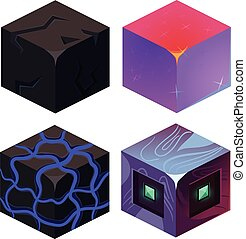 Textures for Platformers Icons Sample Vector Set