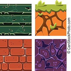 Textures for Platformers Icons Vector Set of Gems, Bricks and Ground