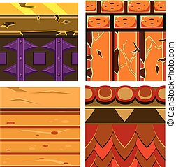 Textures for Platformers Icons Vector Set with Wood and Bricks