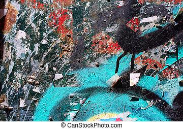 textures, graffiti urbain, papier, vieux