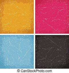textures, grunge, coloré, set., vecteur, backgrounds.
