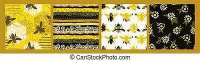 textures., motifs, main, dessiné, branché, seamless, bee.