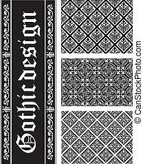textures, noir blanc, seamless, collection, vecteur, gothique, floral