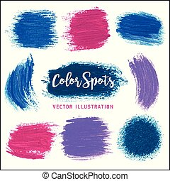 Textures of paint color spots. Vector illustration. Art tools.