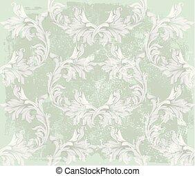 textures, pastel, décor, vieux, schéma structure, ornement, couleurs, arrière-plan vert, vendange, baroque, vector.