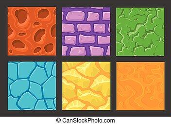 textures, pierre, ensemble, mur, modèle, jeu, fond
