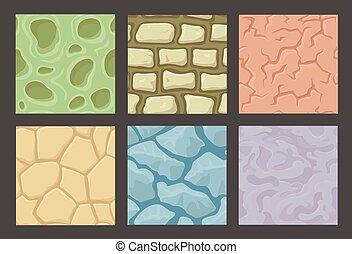 textures, pierre, ensemble, seamless, collection, motifs, vecteur, terrestre