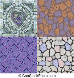 textures, pierre, ensemble, vecteur, plancher