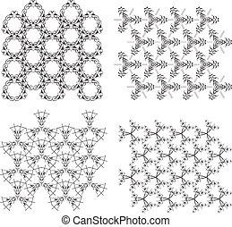 textures, set., seamless, motifs, vecteur, monochrome, géométrique, blanc