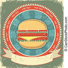 texture.vintage, ensemble, vieux, étiquette, papier, fond, hamburger
