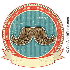 texture.vintage, ensemble, vieux, symbole, papier, fond, moustaches