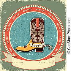 texture.vintage, oud, cowboy laars, stijl, etiket, papier