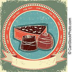 texture.vintage, set, vecchio, etichetta, dolci, carta, fondo, cioccolato