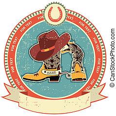 texture.vintage, viejo, vaquero, estilo, botas, etiqueta,...