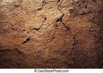textuur, achtergrond, -, droog, gebarsten, bruine aarde