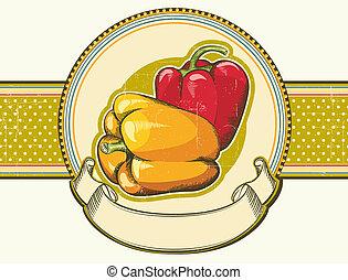 textuur, etiket, oud, achtergrond, peppers., ouderwetse