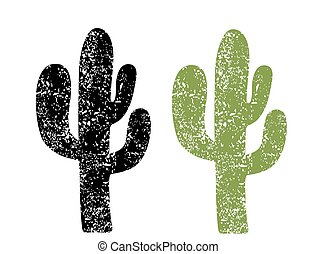 textuur, papier, illustratie, cactus, oud, achtergrond, silhouette., grunge