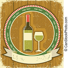 textuur, papier, label., wijn fles, achtergrond, oud, vintagel, witte