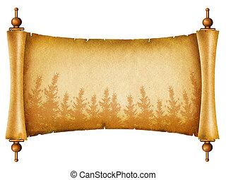 textuur, papier, oud, boekrol, silhouette., bos, witte