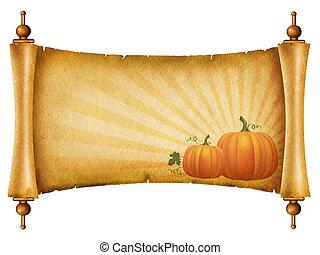 textuur, tekst, papier, pumpkins., oud, boekrol, n, witte