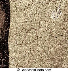 textuur, van, de, oud, papier, met, bruine , kloof
