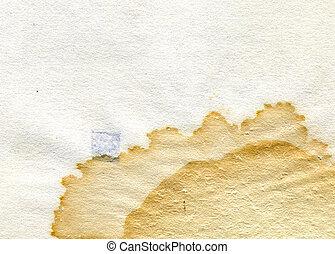 textuur, van, de, oud, papier, met, vlek