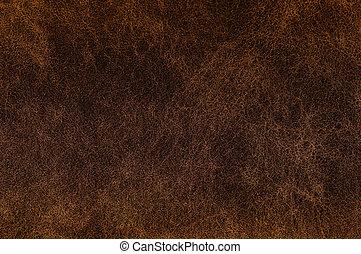 textuur, van, donker, bruine , leather.