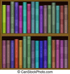 textuur, van, gekke , kleur, boekenplank, boekenkast