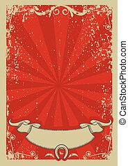text.vector, vaquero, cartel, gráfico, plano de fondo, rojo
