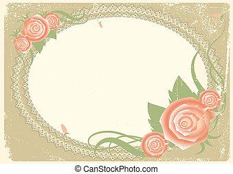text.vector, vendemmia, cornice, rose, fiori, immagine