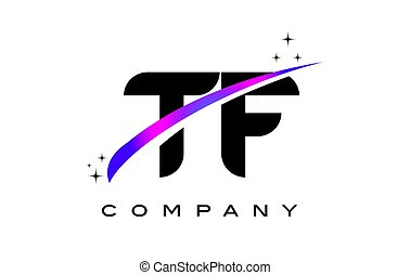 TF T F Black Letter Logo Design with Purple Magenta Swoosh