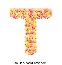 T,flower alphabet isolated on white