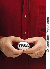 TFSA (Tax Free Savings Account) on egg held by man