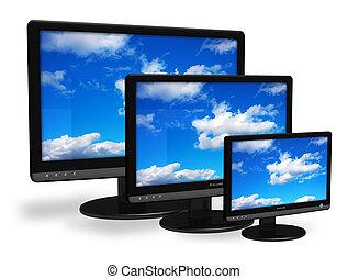 tft, diferente, monitores, tamanho