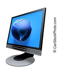 tft globe - 3d rendered illustration of a tft monitor with...