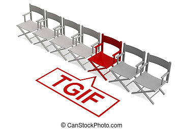 TGIF concept with row of chairs, 3d rendering