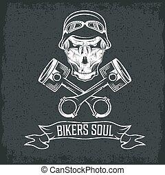 thème, étiquette, pistons, motard, crânes