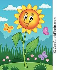 thème, 2, fleur, image, heureux