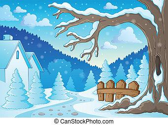 thème, 2, hiver arbre, image