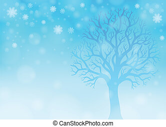 thème, 2, hiver, image, forêt