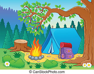 thème, 2, image, camp