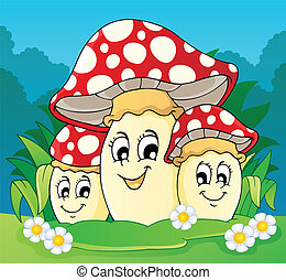 thème, 2, image, champignon