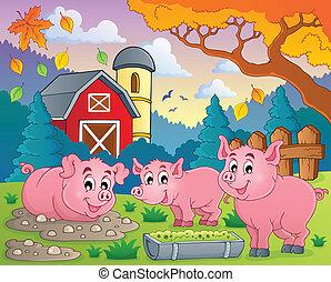 thème, 2, image, cochon