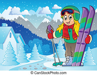thème, 2, image, ski