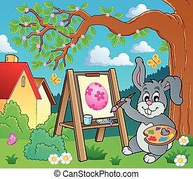 thème, 2, lapin pâques, peintre